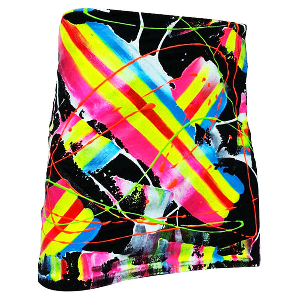 COUCHUK - UV REACTIVE - SCRAPE MINI SKIRT MULTI COLOURED - Clubwear - PLUR - Rave clothing