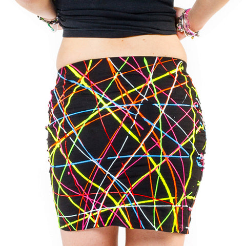 COUCHUK - UV REACTIVE - SCRIBBLE MINI SKIRT MULTI COLOURED - Clubwear - PLUR - Rave clothing