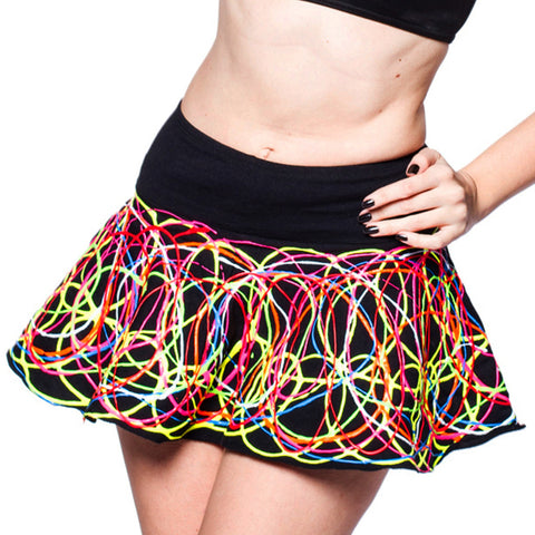 MULTI SCRIBBLE SKATER SKIRT