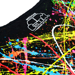 COUCHUK - UV REACTIVE - MULTI SPLAT FITTED CROP TOP - Clubwear - PLUR - Rave clothing