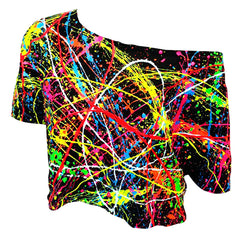 MULTI SPLAT LOOSE FIT CROP TOP