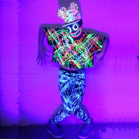 COUCHUK - UV REACTIVE - MULTI SPLAT LOOSE FIT CROP TOP - Clubwear - PLUR - Rave clothing