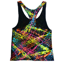 COUCHUK - UV REACTIVE - MULTI SPLAT RACER BACK VEST - Clubwear - PLUR - Rave clothing