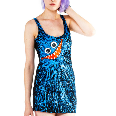 COUCHUK - UV REACTIVE - BLUE SCRIBBLE FACE T-DRESS BLACK - Clubwear - PLUR - Rave clothing