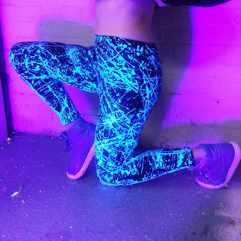 COUCHUK - UV REACTIVE - SPLAT LEGGINGS BLUE - Clubwear - PLUR - Rave clothing