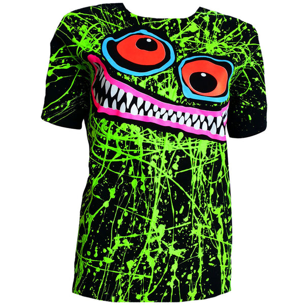 GREEN SCRIBBLE FACE UNISEX T-SHIRT BLACK