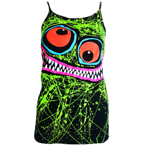 COUCHUK - UV REACTIVE - GREEN SCRIBBLE FACE SKINNY STRAP VEST BLACK - Clubwear - PLUR - Rave clothing