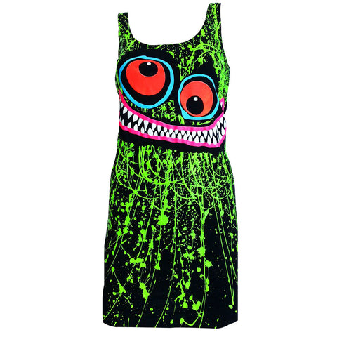 GREEN SCRIBBLE FACE T-DRESS BLACK