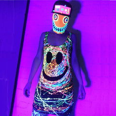 COUCHUK - UV REACTIVE - GRIN T-DRESS BLACK - Clubwear - PLUR - Rave clothing