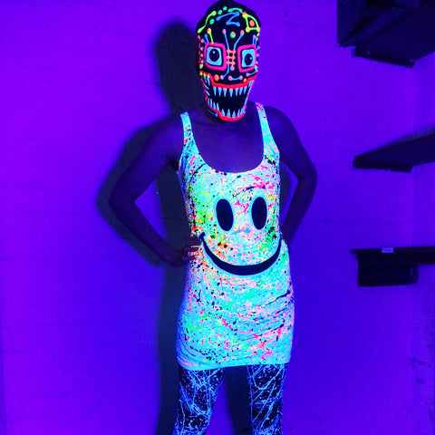 COUCHUK - UV REACTIVE - GRIN T-DRESS WHITE - Clubwear - PLUR - Rave clothing