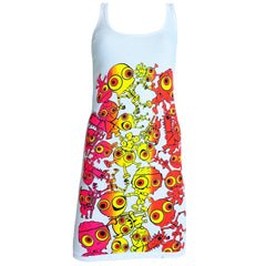 COUCHUK - UV REACTIVE - JUDDER T-DRESS WHITE MULTI - Clubwear - PLUR - Rave clothing