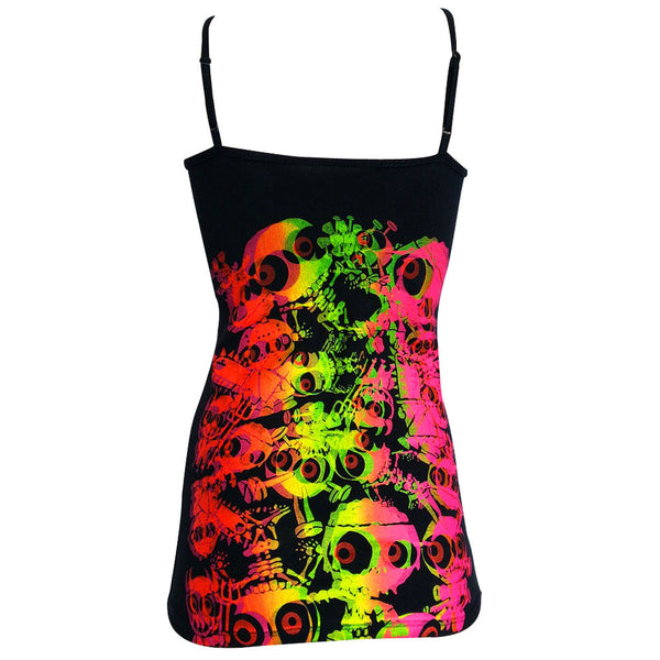 COUCHUK - UV REACTIVE - JUDDER SKINNY STRAP VEST BLACK MULTI - Clubwear - PLUR - Rave clothing