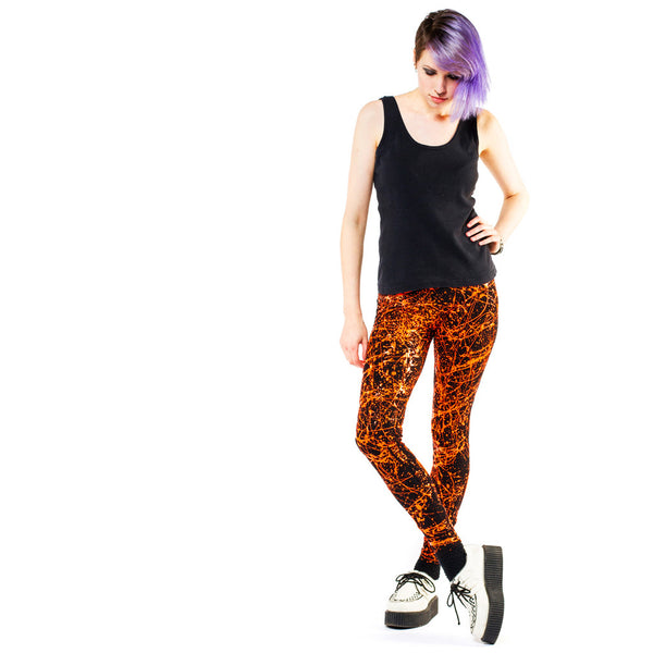 COUCHUK - UV REACTIVE - SPLAT LEGGINGS ORANGE - Clubwear - PLUR - Rave clothing