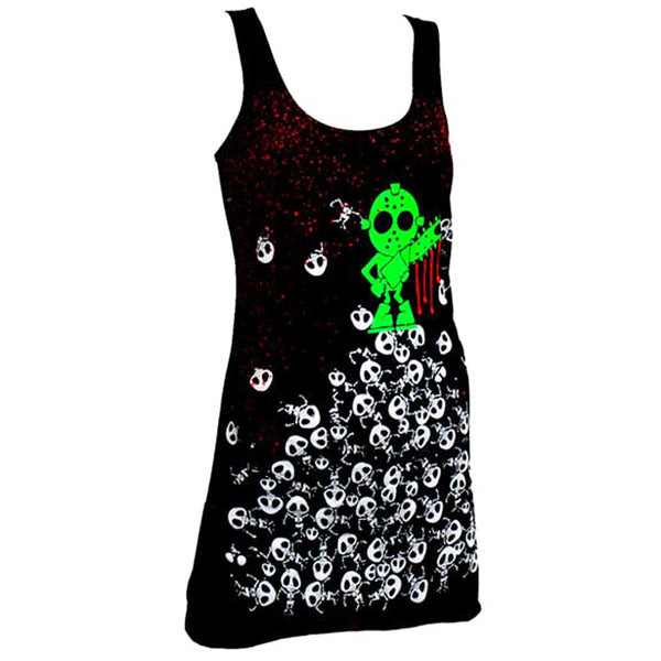 COUCHUK - UV REACTIVE - PILE UP T-DRESS BLACK - Clubwear - PLUR - Rave clothing