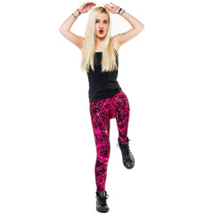 COUCHUK - UV REACTIVE - SPLAT LEGGINGS PINK - Clubwear - PLUR - Rave clothing