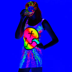 COUCHUK - UV REACTIVE - RAINBOW TONGUE T-DRESS BLACK - Clubwear - PLUR - Rave clothing