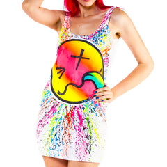 COUCHUK - UV REACTIVE - RAINBOW TONGUE T-DRESS WHITE - Clubwear - PLUR - Rave clothing