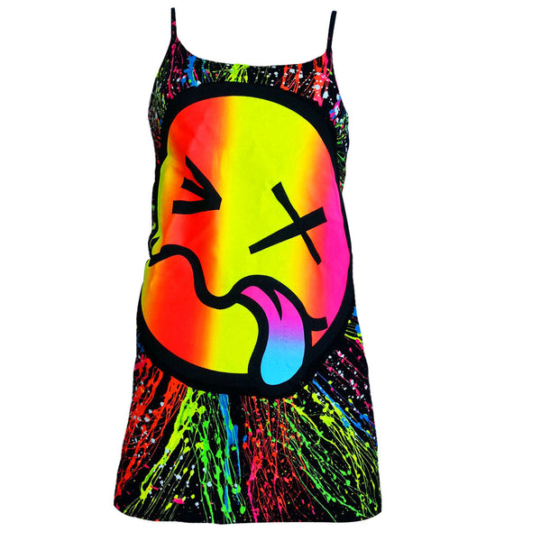 COUCHUK - UV REACTIVE - RAINBOW TONGUE SKINNY STRAP VEST BLACK - Clubwear - PLUR - Rave clothing