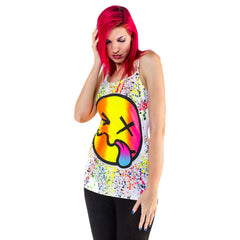 COUCHUK - UV REACTIVE - RAINBOW TONGUE SKINNY STRAP VEST WHITE - Clubwear - PLUR - Rave clothing