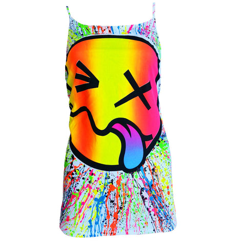 RAINBOW TONGUE SKINNY STRAP VEST WHITE