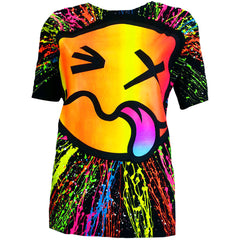 COUCHUK - UV REACTIVE - RAINBOW TONGUE UNISEX T-SHIRT BLACK - Clubwear - PLUR - Rave clothing