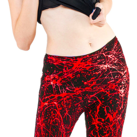 COUCHUK - UV REACTIVE - SPLAT LEGGINGS RED - Clubwear - PLUR - Rave clothing