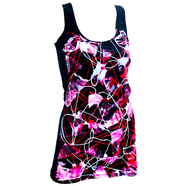 COUCHUK - UV REACTIVE - SCRAPE RED T-DRESS BLACK - Clubwear - PLUR - Rave clothing