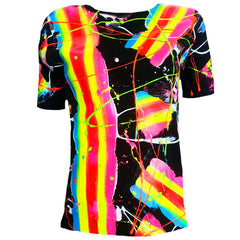 COUCHUK - UV REACTIVE - RAINBOW SCRAPE UNISEX  T-SHIRT - Clubwear - PLUR - Rave clothing