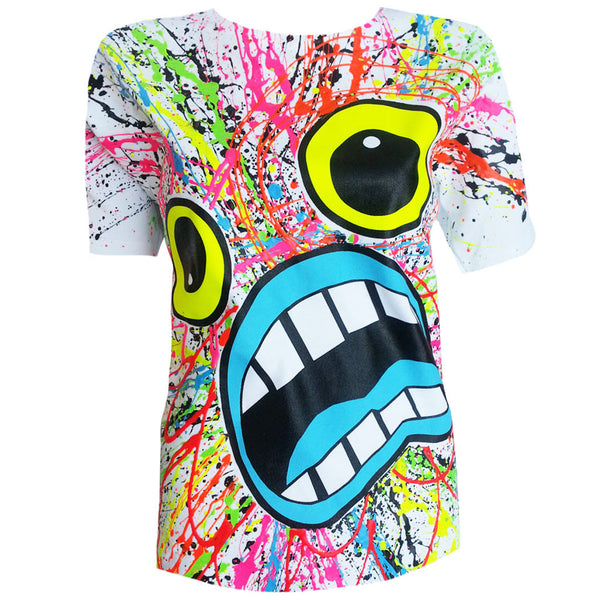 COUCHUK - UV REACTIVE - SCREAM UNISEX T-SHIRT WHITE - Clubwear - PLUR - Rave clothing