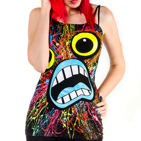 SCREAM SKINNY STRAP VEST BLACK