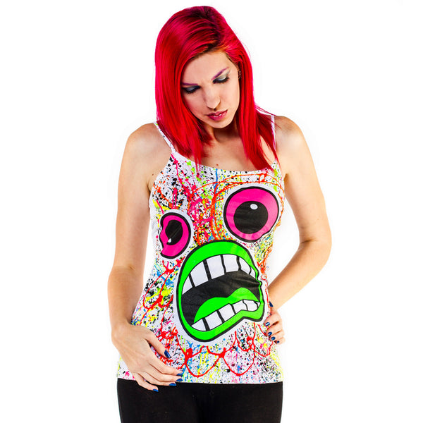 COUCHUK - UV REACTIVE - SCREAM SKINNY STRAP VEST WHITE - Clubwear - PLUR - Rave clothing