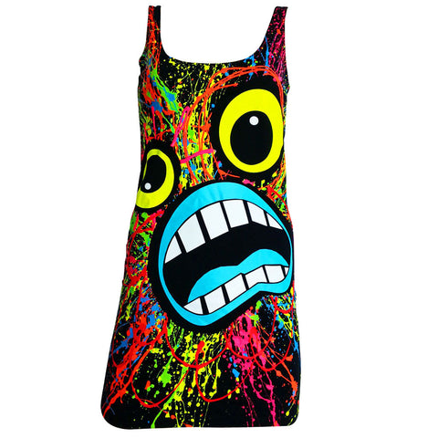 COUCHUK - UV REACTIVE - SCREAM T-DRESS BLACK - Clubwear - PLUR - Rave clothing