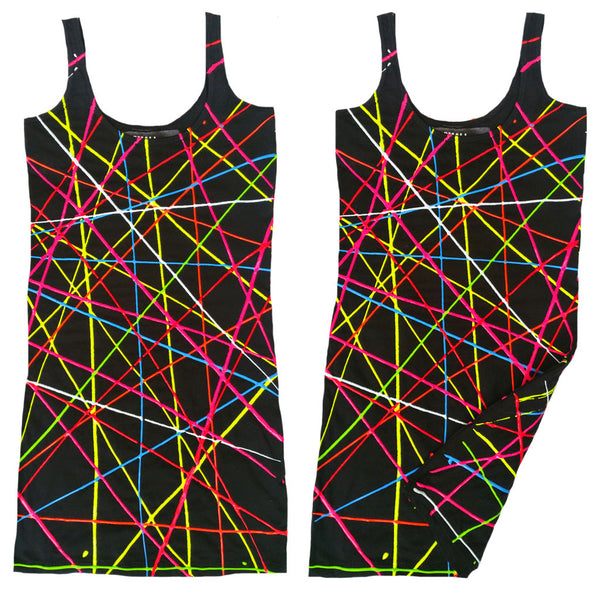COUCHUK - UV REACTIVE - SCRIBBLE T-DRESS BLACK - Clubwear - PLUR - Rave clothing