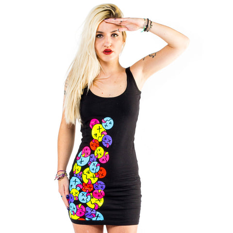 SIDE TONGUE T-DRESS BLACK