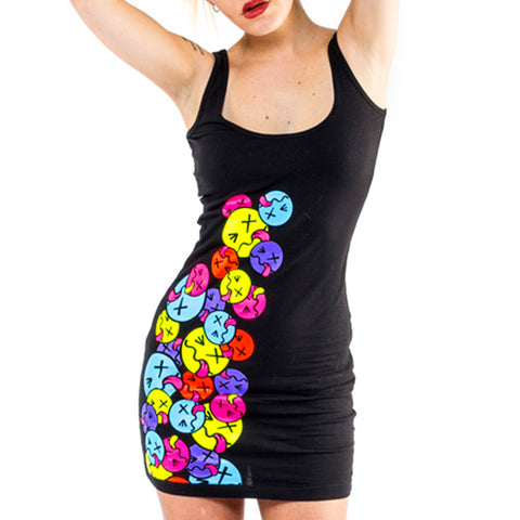 COUCHUK - UV REACTIVE - SIDE TONGUE T-DRESS BLACK - Clubwear - PLUR - Rave clothing