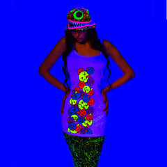 COUCHUK - UV REACTIVE - SIDE TONGUE T-DRESS WHITE - Clubwear - PLUR - Rave clothing