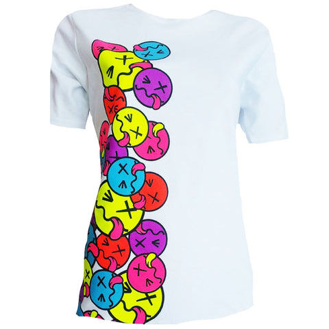 COUCHUK - UV REACTIVE - SIDE TONGUE UNISEX T-SHIRT WHITE - Clubwear - PLUR - Rave clothing