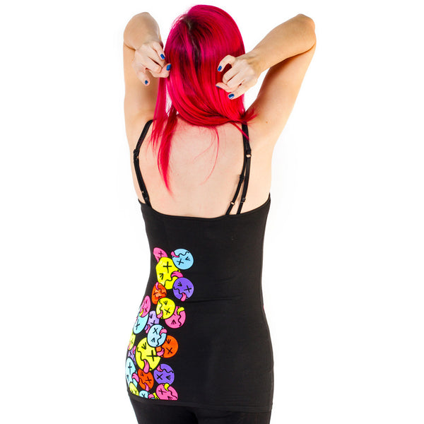 COUCHUK - UV REACTIVE - SIDE TONGUE SKINNY STRAP VEST BLACK - Clubwear - PLUR - Rave clothing