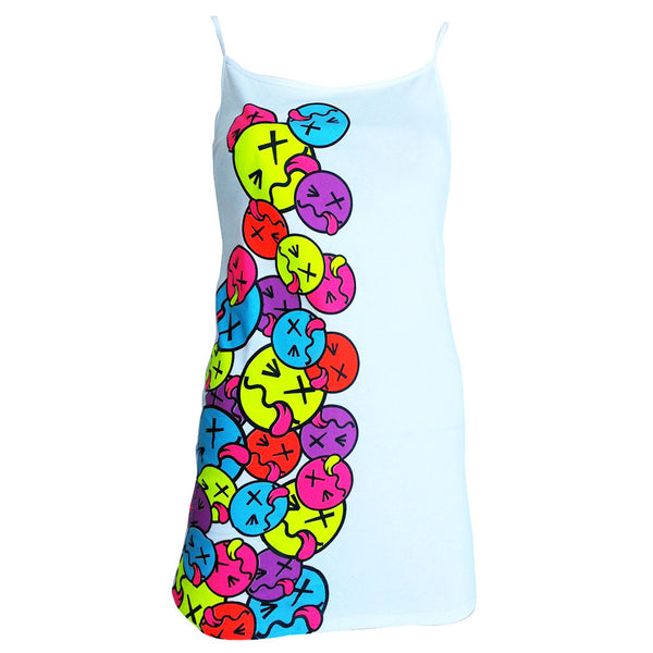 COUCHUK - UV REACTIVE - SIDE TONGUE SKINNY STRAP VEST WHITE - Clubwear - PLUR - Rave clothing