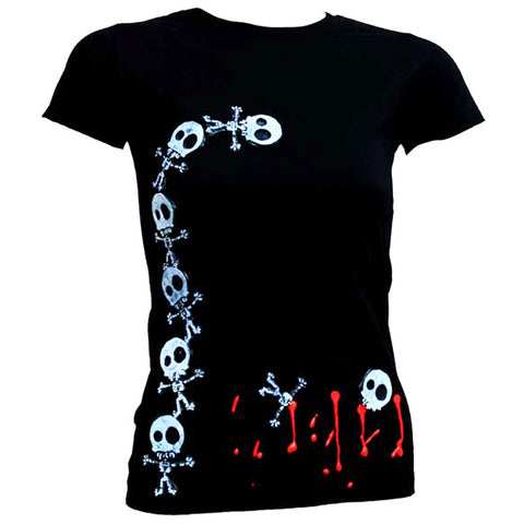 COUCHUK - UV REACTIVE - SKELLY TOWER WOMENS T-SHIRT - Clubwear - PLUR - Rave clothing
