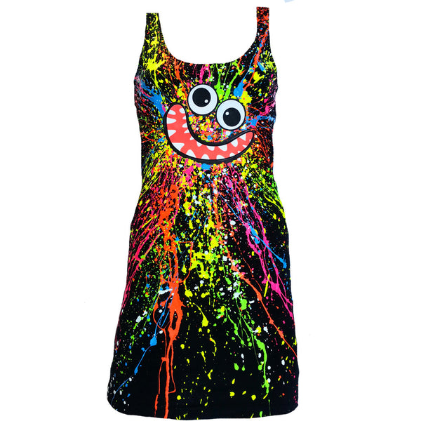 COUCHUK - UV REACTIVE - SPLASH FACE T-DRESS BLACK MULTI - Clubwear - PLUR - Rave clothing