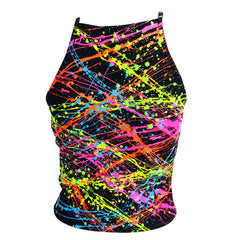 COUCHUK - UV REACTIVE - MULTI SPLAT NINETIES STYLE CROPPED VEST TOP - Clubwear - PLUR - Rave clothing