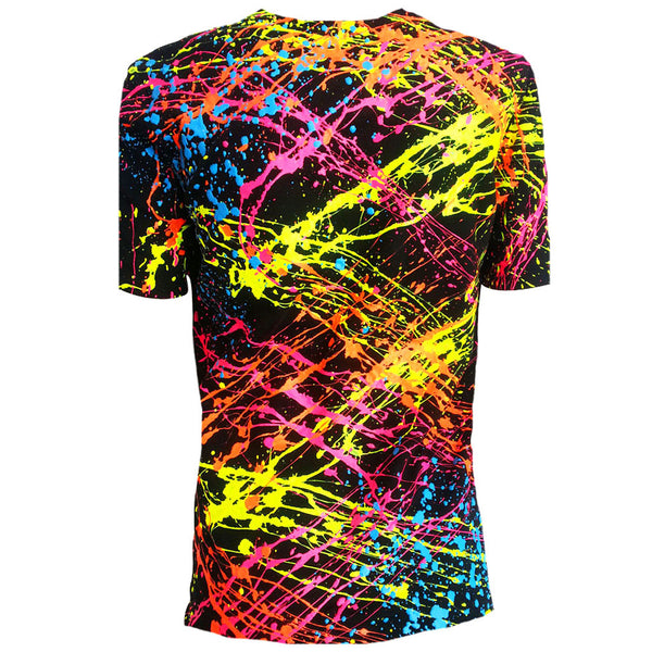 COUCHUK - UV REACTIVE - SPLAT UNISEX T-SHIRT BLACK - Clubwear - PLUR - Rave clothing
