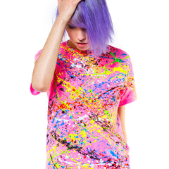 COUCHUK - UV REACTIVE - NEON SPLAT UNISEX T-SHIRT PINK - Clubwear - PLUR - Rave clothing