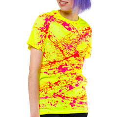 COUCHUK - UV REACTIVE - NEON SPLAT UNISEX T-SHIRT YELLOW - Clubwear - PLUR - Rave clothing