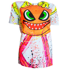 COUCHUK - UV REACTIVE - SPLAT MONSTER ORANGE UNISEX T-SHIRT WHITE - Clubwear - PLUR - Rave clothing