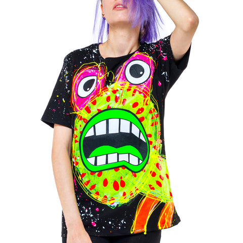 COUCHUK - UV REACTIVE - SPLAT MONSTER YELLOW UNISEX  T-SHIRT - Clubwear - PLUR - Rave clothing