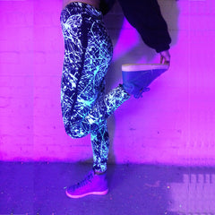 COUCHUK - UV REACTIVE - SPLAT LEGGINGS WHITE - Clubwear - PLUR - Rave clothing