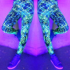 COUCHUK - UV REACTIVE - SPLAT LEGGINGS YELLOW/BLUE - Clubwear - PLUR - Rave clothing