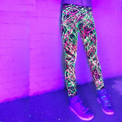 COUCHUK - UV REACTIVE - SPLAT LEGGINGS YELLOW/PINK - Clubwear - PLUR - Rave clothing